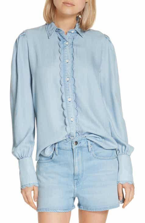 6168fe628cc06b FRAME Scalloped Denim Shirt