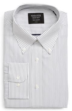 Nordstrom Mens Shop Tech Smart Classic Fit Stretch Stripe Dress Shirt