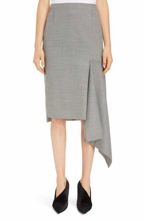 Balenciaga Houndstooth Godet Midi Skirt by BALENCIAGA
