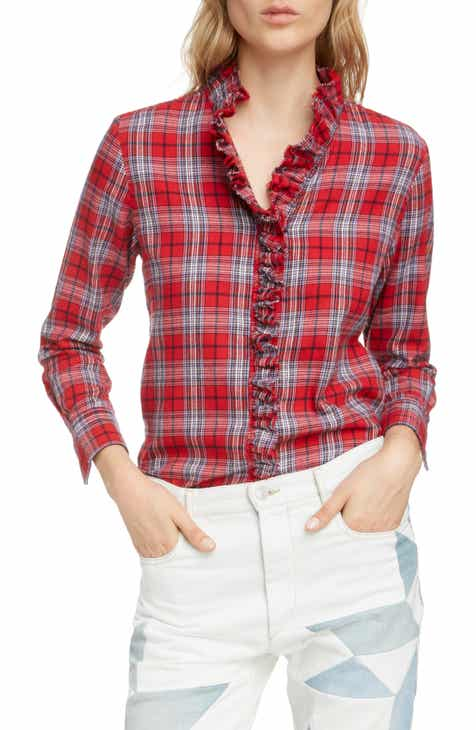 3d268285c8 Isabel Marant Étoile Dawendy Ruffle Plaid Top