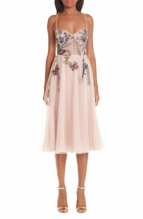 73453fd61c2 PatBO Beaded Floral Bustier Tea Length A-Line Dress