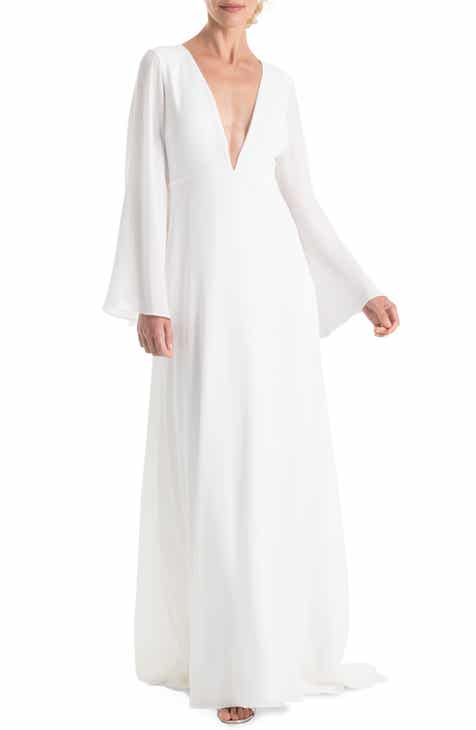 #Levkoff Surplice Neck Chiffon Evening Dress by LEVKOFF