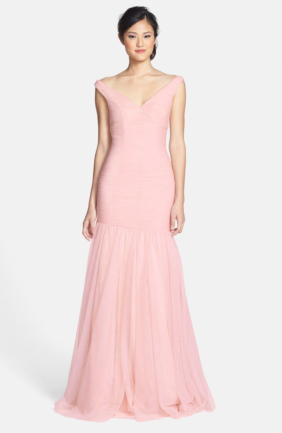 Main Image - Monique Lhuillier Bridesmaids V-Neck Shirred Tulle Trumpet Dress