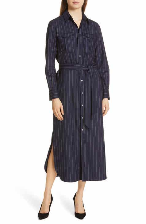 88472b6b05197 Polo Ralph Lauren Pinstripe Midi Shirtdress