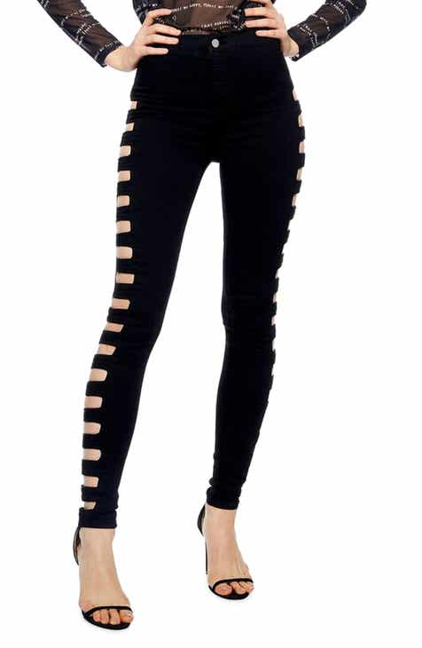 Topshop Joni Cutout High Waist Skinny Jeans by TOPSHOP