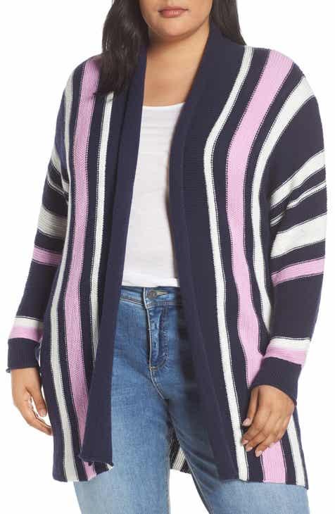 90cae2506f Caslon® Stripe Open Front Cardigan (Plus Size)