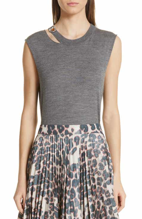 CALVIN KLEIN 205W39NYC Jewel Detail Cutout Wool & Silk Tank Top by CALVIN KLEIN 205W39NYC