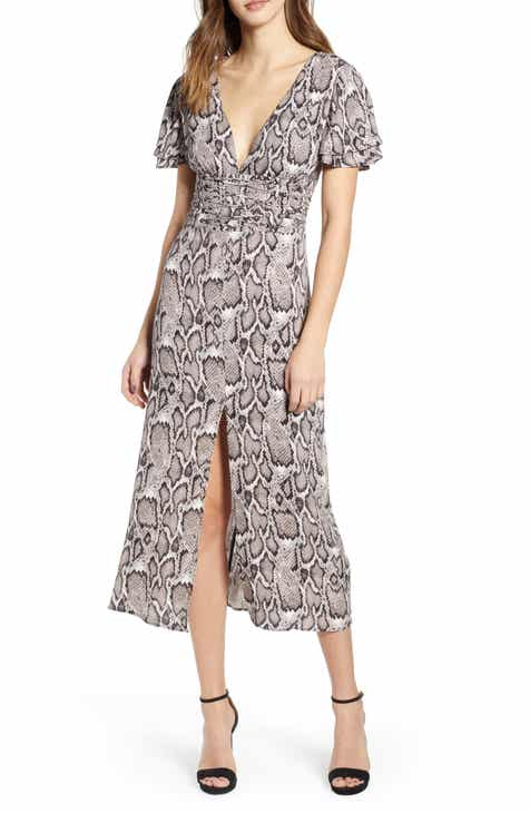 8cafca52ea740 AFRM Carmen Corset Detail Print Dress