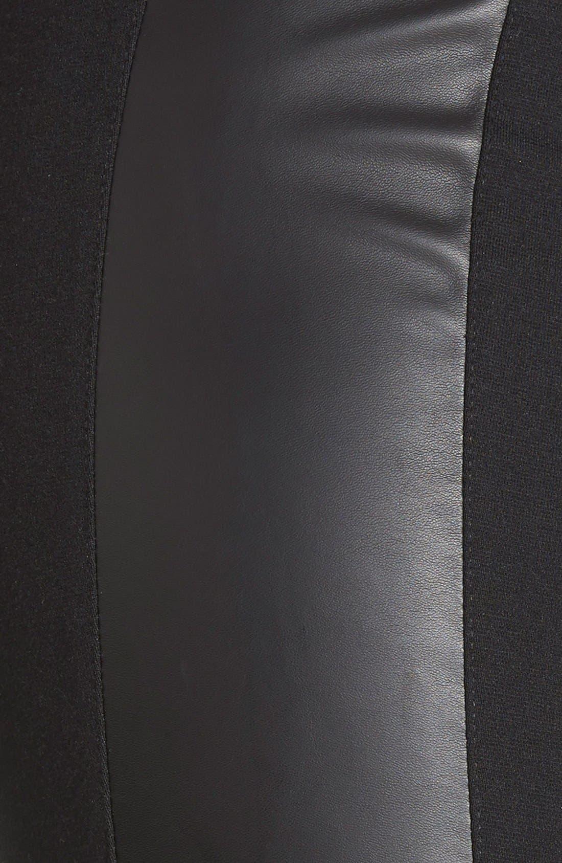Alternate Image 3  - kensie Faux Leather Trim Ponte Leggings