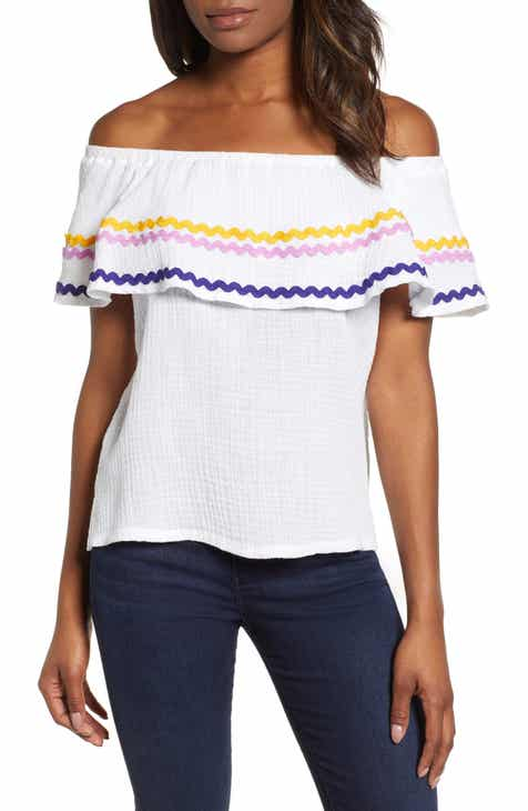 65b3b5005ebb6 Santa Fe Rickrack Off the Shoulder Top (Regular   Petite) (Nordstrom  Exclusive)