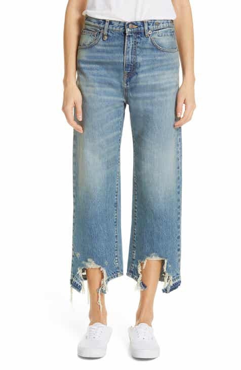 R13 Camille Chewed Hem Wide Leg Jeans (Carlton) by R13