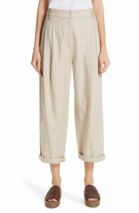 Brunello Cucinelli Pleated Linen & Cotton Crop Pants by BRUNELLO CUCINELLI