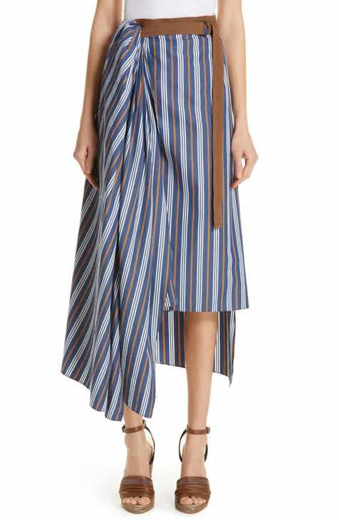 Brunello Cucinelli Stripe Cotton Poplin Wrap Skirt by BRUNELLO CUCINELLI
