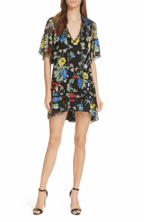 5806ba4a4af Alice + Olivia Pauline Ruffle Silk Blend Tunic Dress