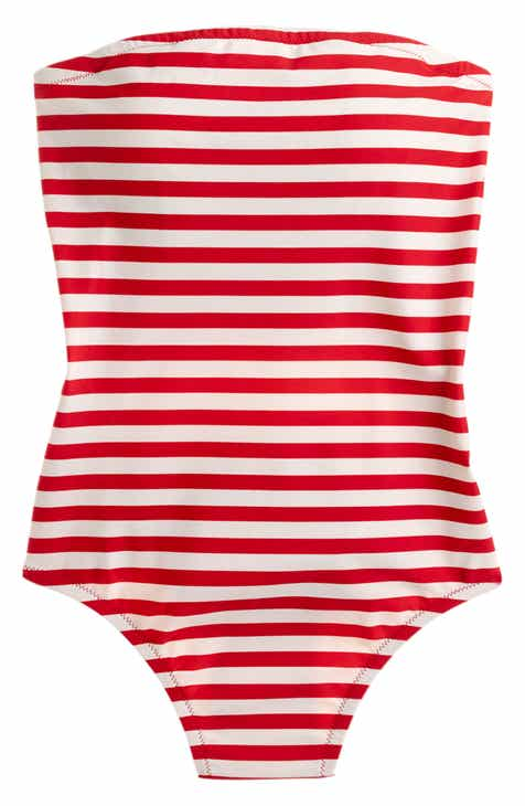 J.Crew Stripe Cross Back Bandeau One-Piece Swimsuit By J.CREW by J.CREW Purchase