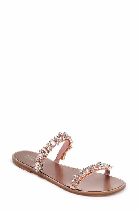 7390de3a4af Badgley Mischka Loveday Crystal Embellished Slide Sandal (Women)