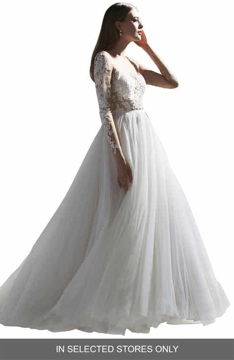 da4aa82914b Watters Amaya Long Sleeve Lace Bodice Wedding Dress