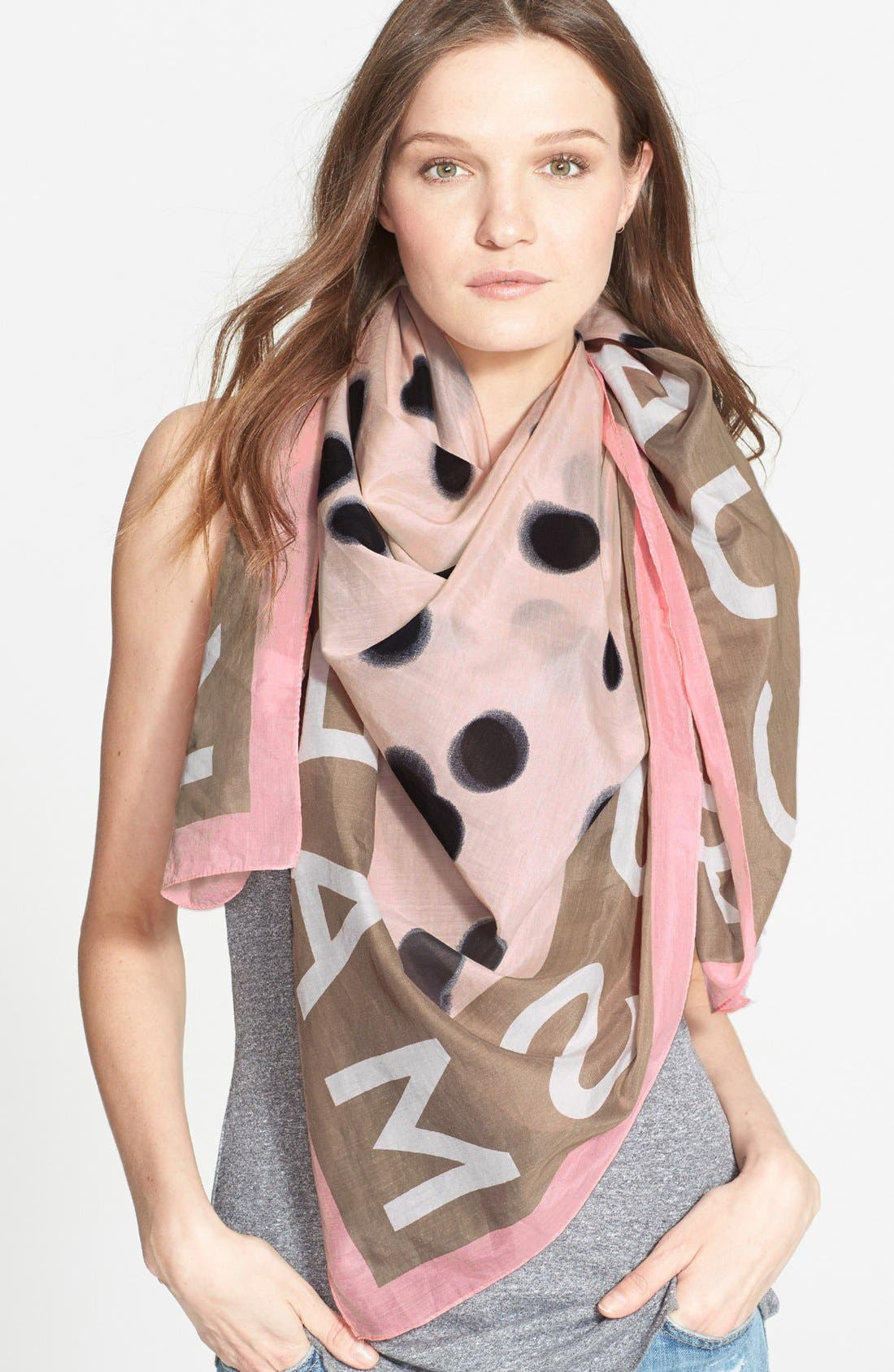 MARC BY MARC JACOBS 'Blurred Dot' Cotton & Silk Square Scarf,                             Main thumbnail 1, color,                             Piggy Pink Multi