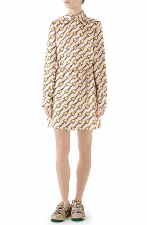 b825c6c2a Gucci Stirrups Print Silk Twill Dress