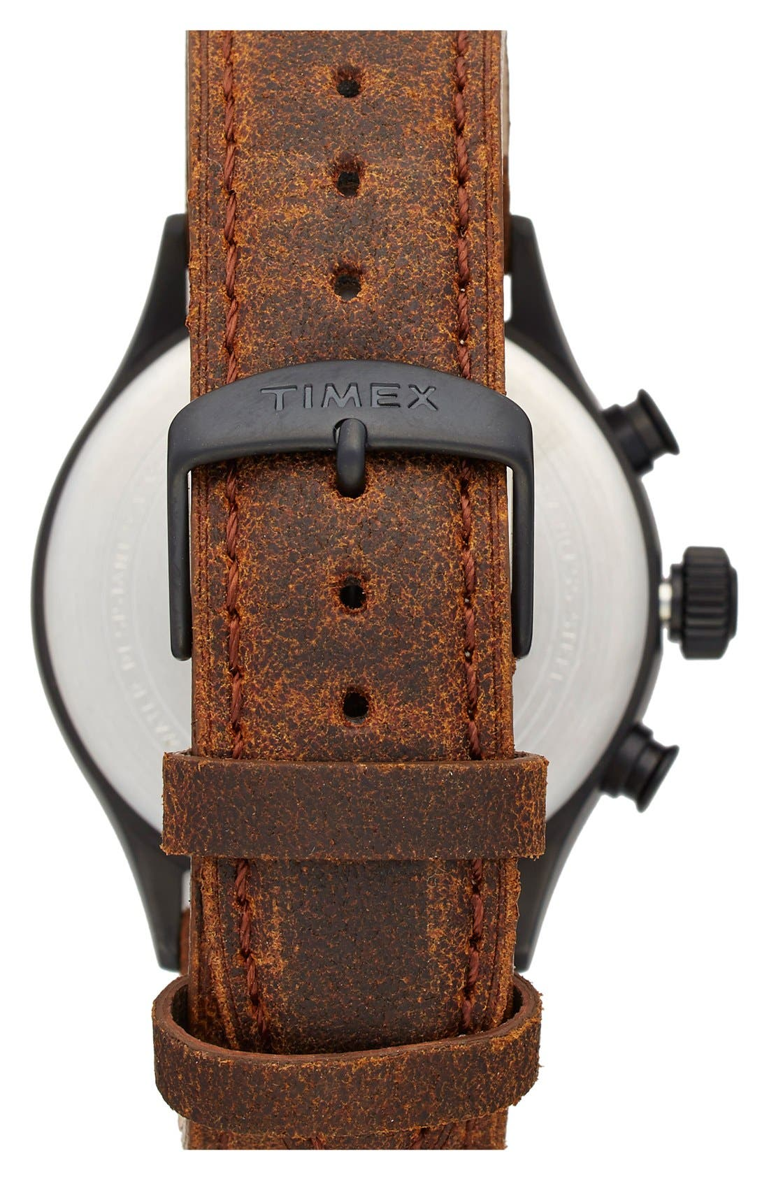Alternate Image 2  - Timex® Waterbury Chronograph Leather Strap Watch, 42mm