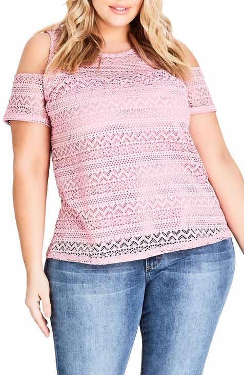 410854d8af907 City Chic Serenity Lace Cold Shoulder Top (Plus Size)