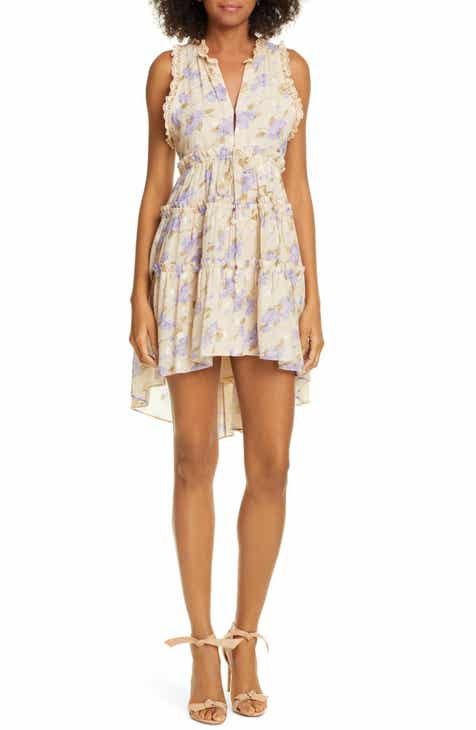 Love Sam La Villette Floral Print Tiered Minidress