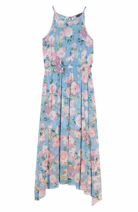 Ava & Yelly Rose Print Mesh Maxi Dress (Big Girls)