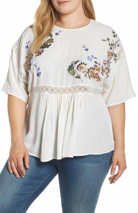 88d0ff3e2988 LOST INK Flower Embroidered Top (Plus Size)