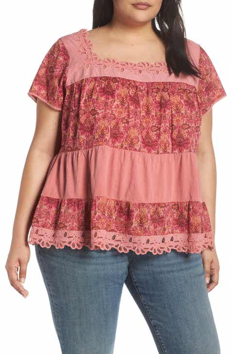 9bbec594e1aff Lucky Brand Lace Tiered Top (Plus Size)