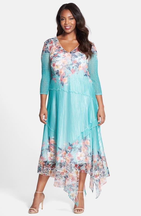 Komarov Print Chiffon Handkerchief Hem Dress Plus Size Nordstrom