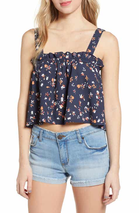 d38d37f72d10 Floral Print Ruffle Crop Tank Top. $35.00. Product Image. CORAL CALYPSO;  BLACK