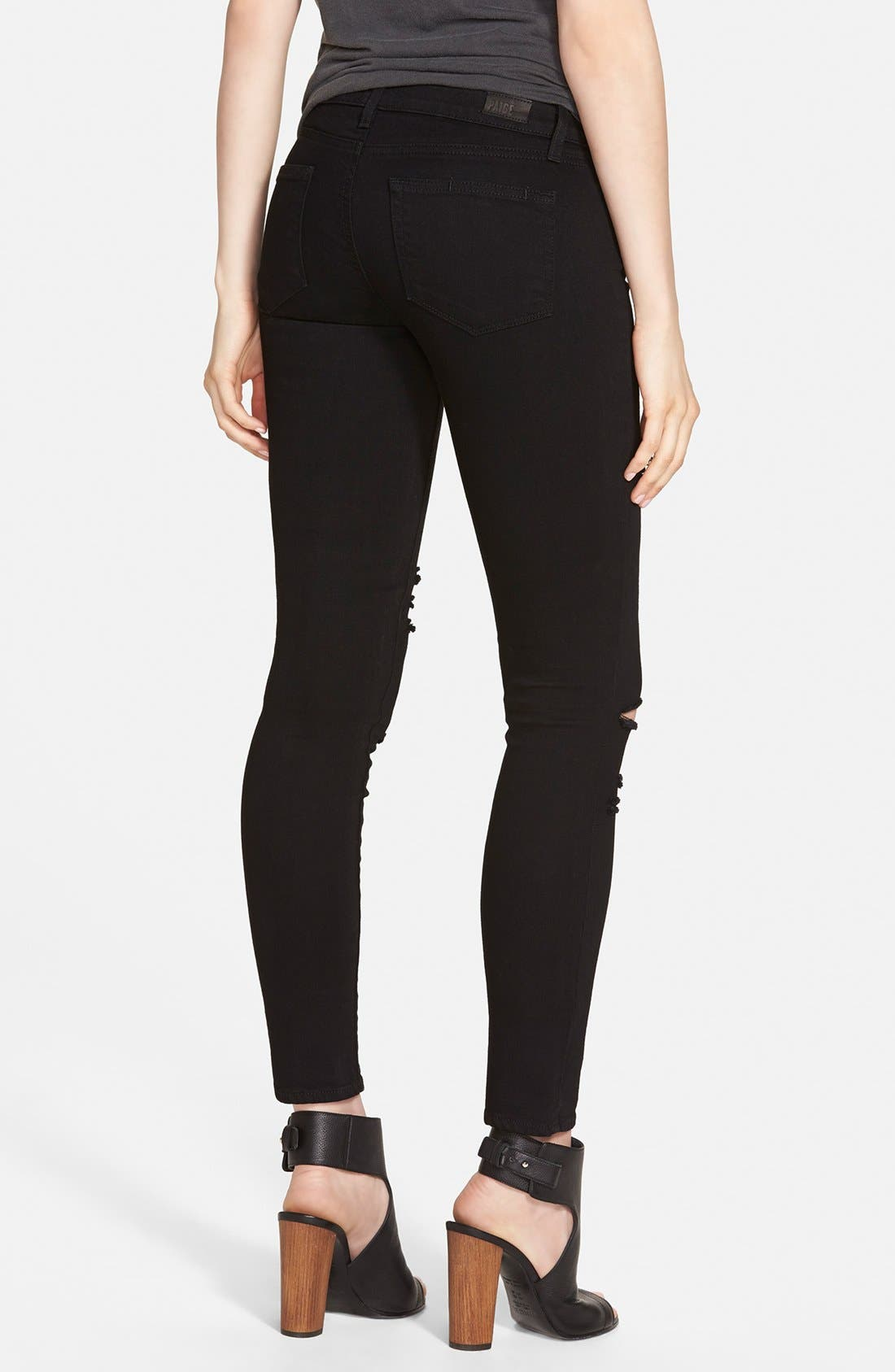 Alternate Image 2  - Paige Denim 'Verdugo' Ankle Ultra Skinny Jeans (Black Arlo Destructed)