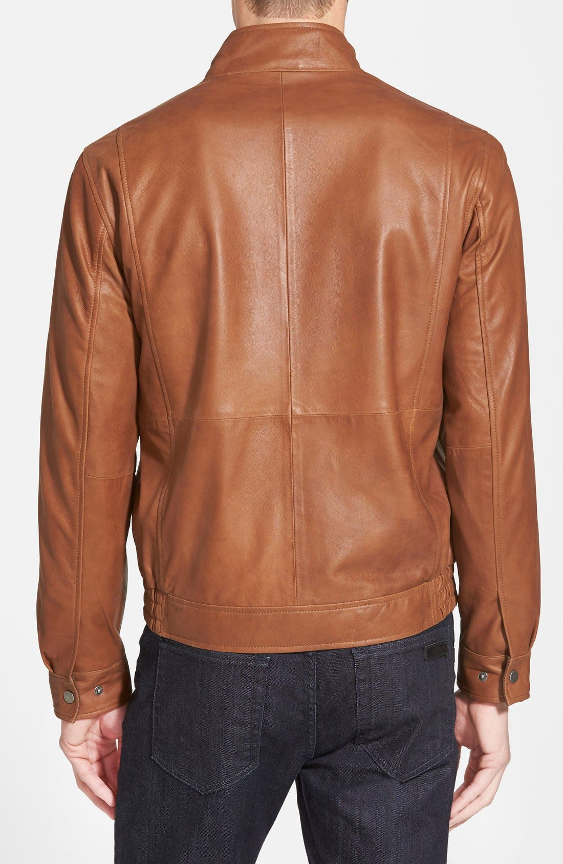 Leather Bomber Jacket,                             Alternate thumbnail 2, color,                             Saddle Brown