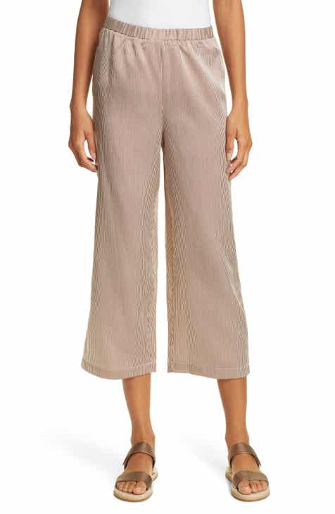 Eileen Fisher Stripe Straight Wide Leg Silk & Cotton Crop Pants (Regular & Petite) by EILEEN FISHER
