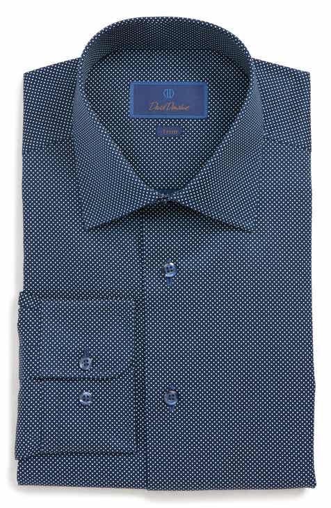 10d767c87 David Donahue Trim Fit Dot Dress Shirt