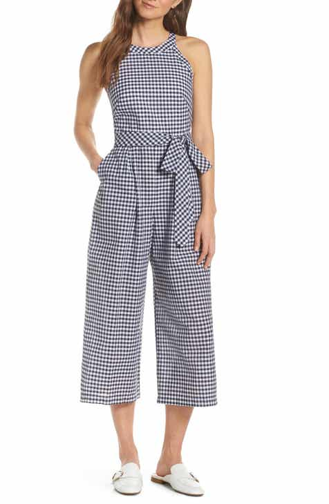 1901 Halter Neck Gingham Crop Jumpsuit by 1901