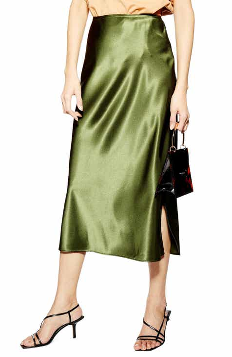 55daccaa4e3 Topshop Slit Bias Cut Satin Midi Skirt