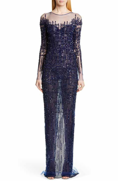 New Pamella Roland Long Sleeve Sequin Column Gown 2019 Coupon
