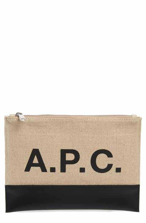 c0ce8ff428ae A.P.C. Axel Canvas   Leather Zip Pouch