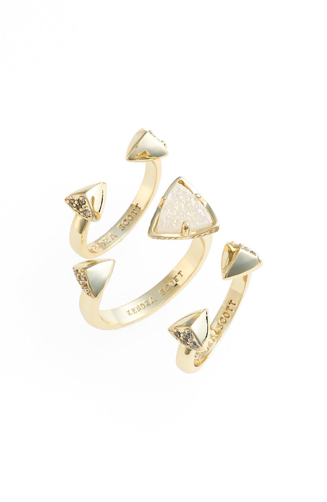 Main Image - Kendra Scott 'Brennan' Spiked Open Ring & Midi Rings (Set of 3)