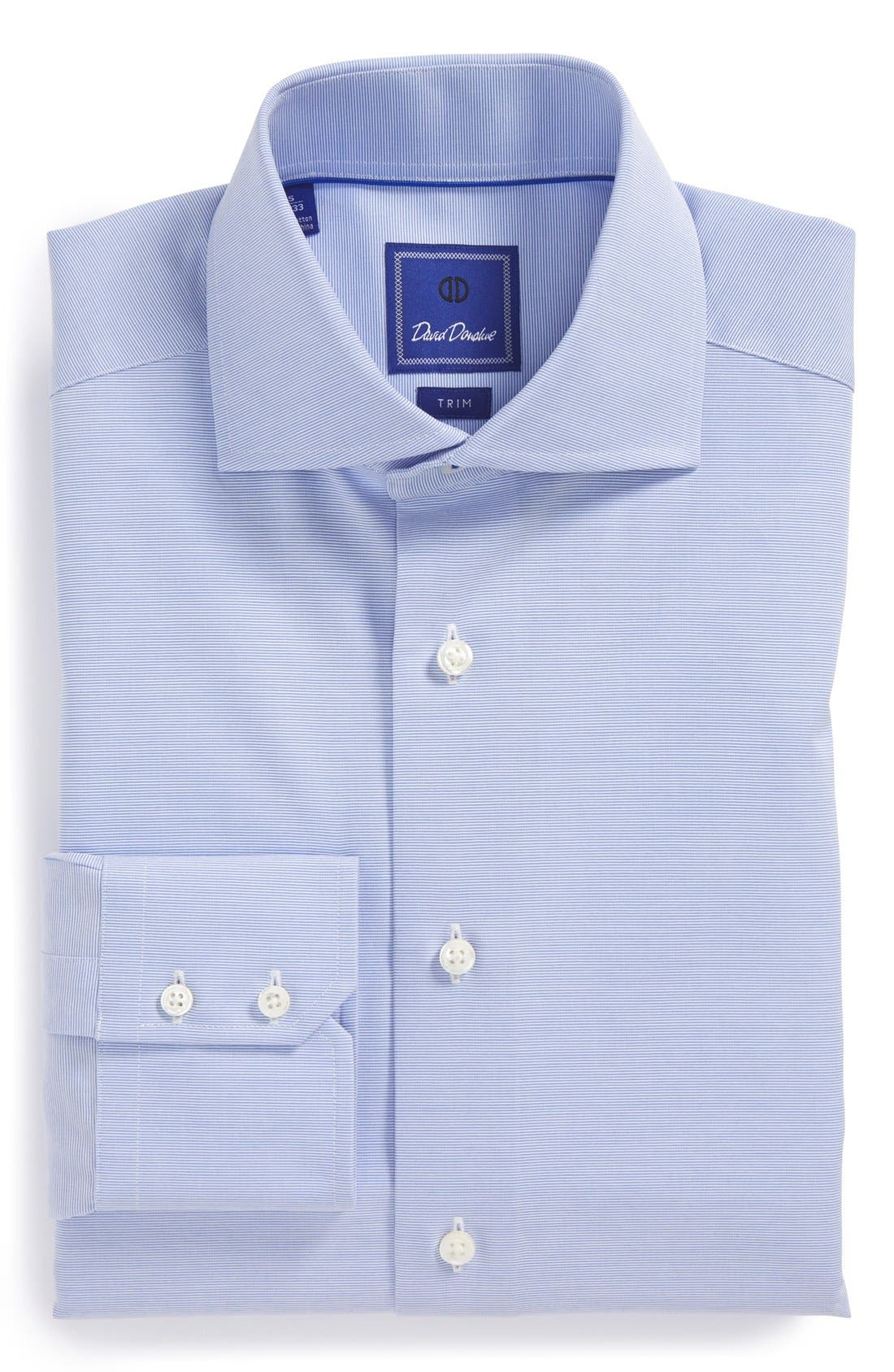 DAVID DONAHUE Royal Trim Fit Solid Dress Shirt