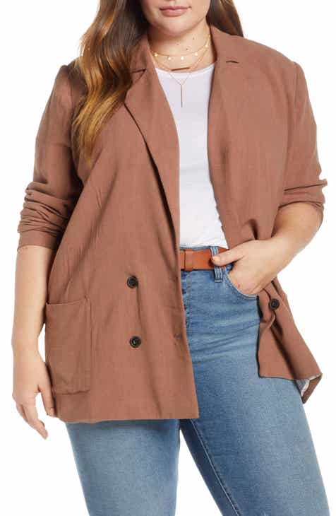Treasure & Bond Double Breasted Blazer (Plus Size) by TREASURE AND BOND