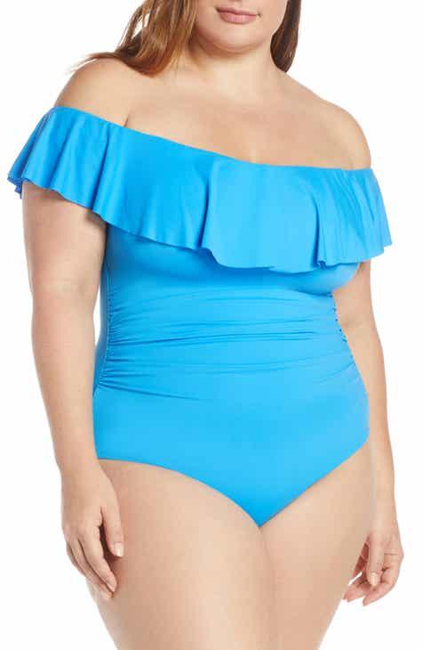 00ec3e1aa5 La Blanca Off the Shoulder One-Piece Swimsuit (Plus Size)