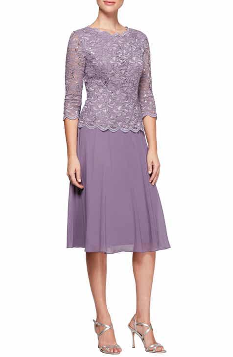 e176c00b3b Alex Evenings Mock Two-Piece Tea Length Dress (Petite)