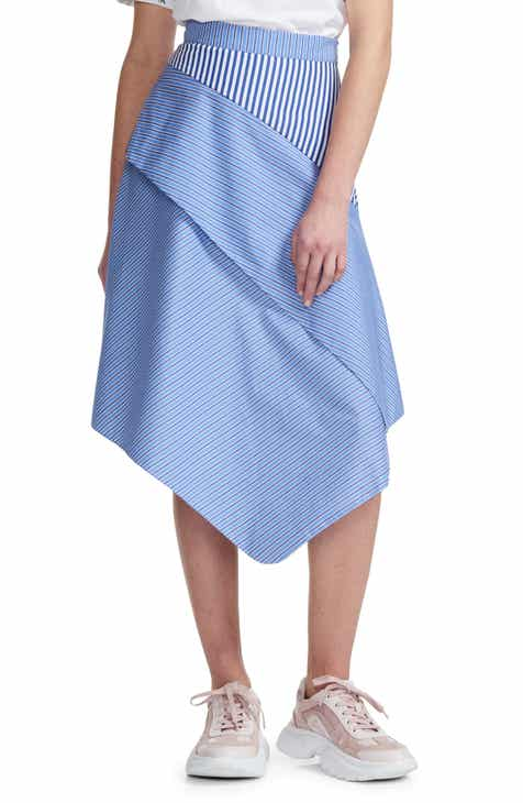 maje Jim Stripe Asymmetrical Tiered Skirt by MAJE