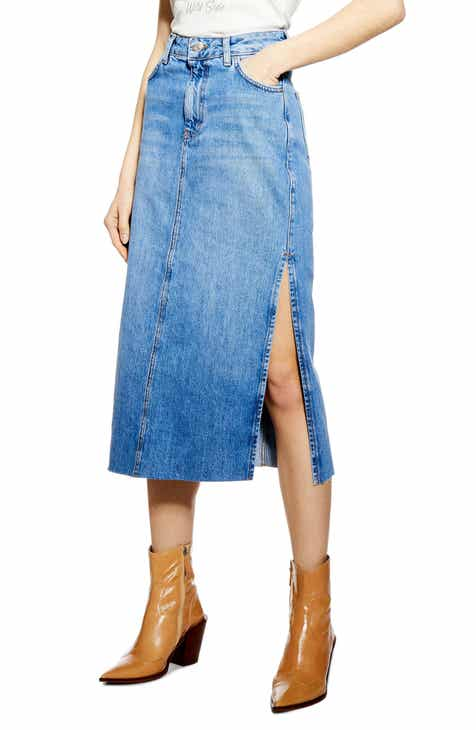 0bbe70d2ab Topshop Split Denim Midi Skirt