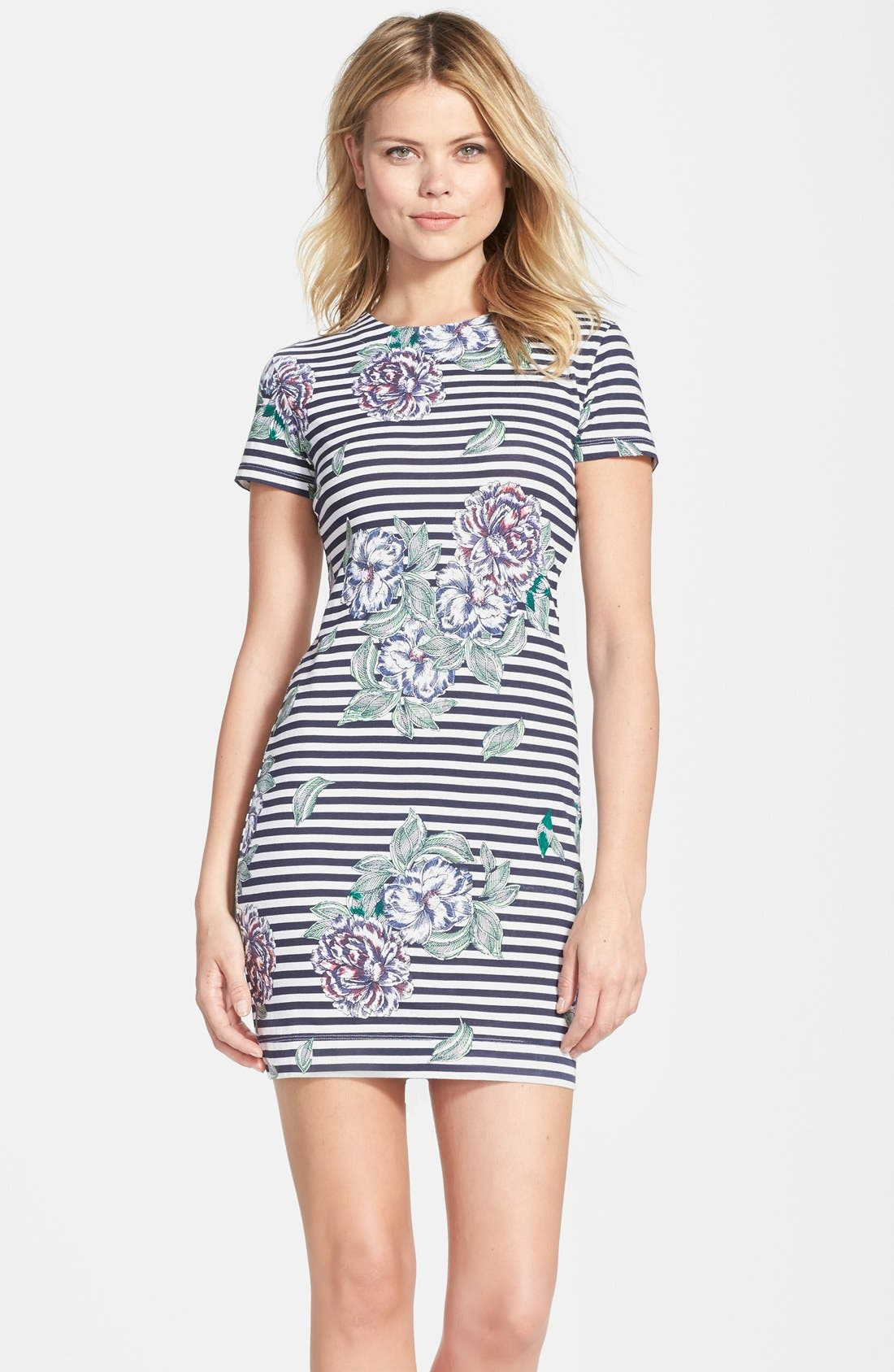 Alternate Image 1 Selected - French Connection 'Bonita' Stripe Floral Body-Con Dress