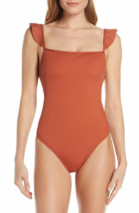 0ebcc82ab Madewell Second Wave Ribbed Ruffle-Strap One-Piece Swimsuit