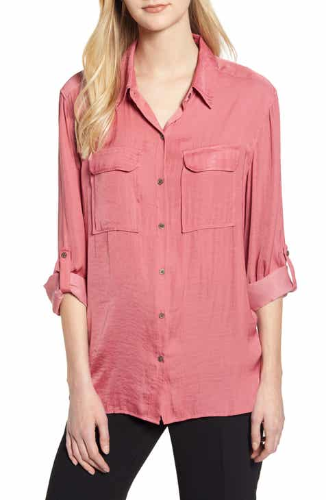 0797319ac803f2 Vince Camuto Two-Pocket Rumple Blouse