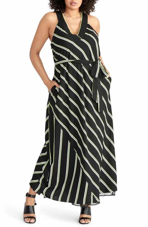 ed82d60f26 RACHEL Rachel Roy Jacey Racer Stripe Maxi Dress (Plus Size)